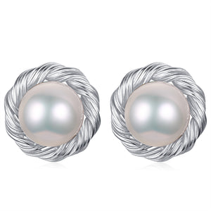 Silver Rope Pearl Studs Earrings