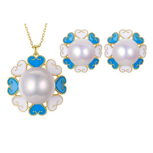 Lyla Edison Pearl Earrings & Necklace Set