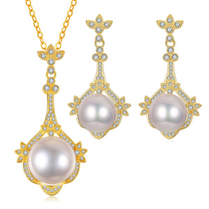 Exquisite Beauty Pearl Earrings & Necklace Set