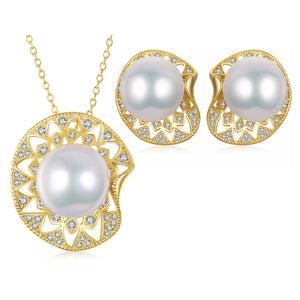 Lilypad Edison Pearl Earrings & Necklace Set