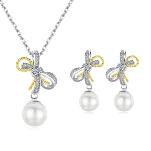 Duo Bows Edison Pearl Earrings & Necklace Set