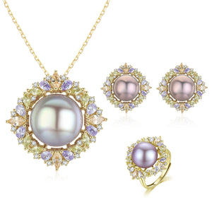 Sparkling Season Edison Pearl Earrings & Necklace & Ring Set