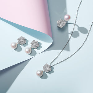Blooming Rose Pearl Earrings & Necklace & Ring Set