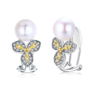 Primrose and Pearl Clip-On Earrings