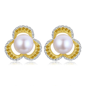 Gold and Silver Posy Pearl Earrings