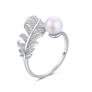Silver Feather and Pearl Ring