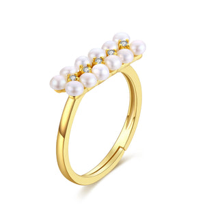 Gold Pearl Bar Ring
