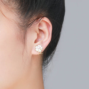 White Floret Pearl Clip-On Earrings