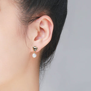 Abstract Pearl Drop Earrings