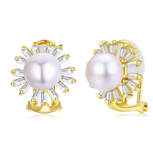Golden Sunburst Pearl Clip-On Earrings