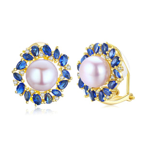 Blue Daisy Pearl Clip-on Earrings