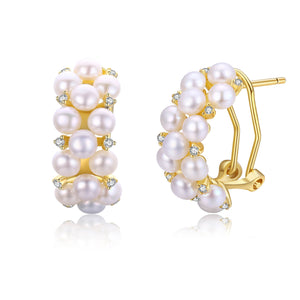 Pearl Cluster Half Hoop Earrings