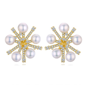 Golden Snowflake Pearl Studs