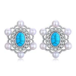 Elegant Turquoise Pearl Earrings