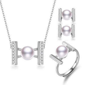 Forever & Always Pearl Earrings & Necklace & Ring Set