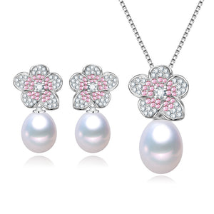 Cherry Blossom Pearl Earrings & Necklace Set