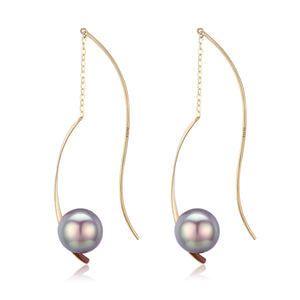 G18K Spiral Edison Pearl Earrings