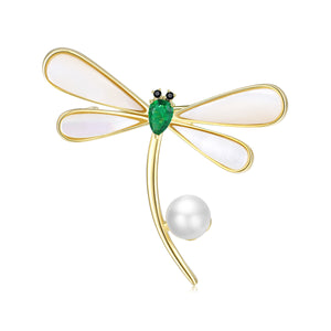 Golden Dragonfly Pearl Brooch