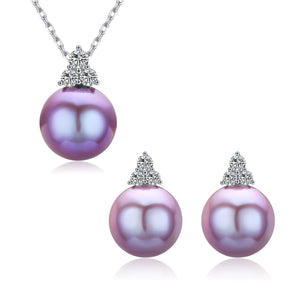 G14K Trinity Edison Pearl Earrings & Necklace Set