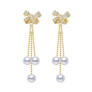 Golden Ribbons Pearl Earrings