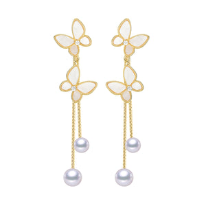 Playful Butterflies Pearl Earrings