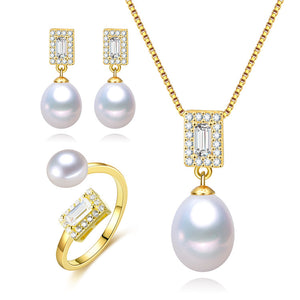 Golden Times Pearl Earrings & Necklace & Ring Set