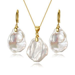 Freshwater Keshi Pearl Earrings & Necklace Set