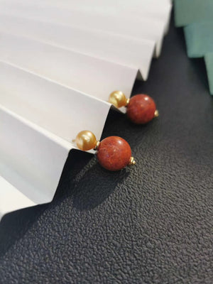 Luck and Love Coral Pearl Earrings