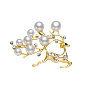 GOLDEN SNOW WHITE ELK REINDEER PEARL BROOCH