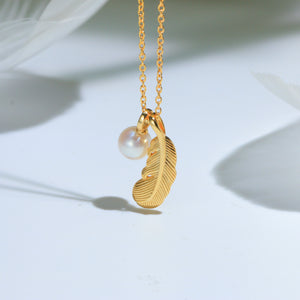 G14K The Feather of Love Pearl Pendant