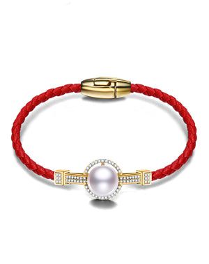Red and Gold Braided Leather Pearl Bangle Bracelet
