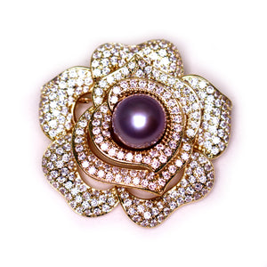 Blooming Rose Edison Pearl Brooch - Timeless Pearl