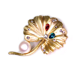 Golden Lotus Leaf Pearl Brooch - Timeless Pearl