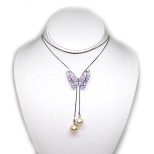 Shining Butterfly Double Edison Pearls 36 Inches Adjustable Necklace - Timeless Pearl
