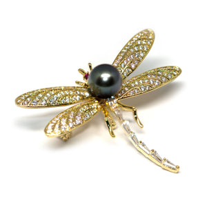 Dragonfly Tahitian Pearl Brooch Pendant - Timeless Pearl