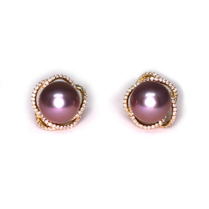 Mystery Purple Flower Edison Pearl Earrings - Timeless Pearl
