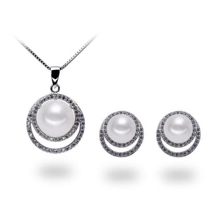Full Moon Necklace & Earrings Set - Timeless Pearl