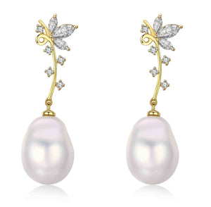 Golden Flower Edison Pearl Earrings - Timeless Pearl