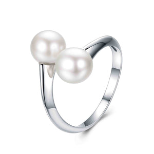 SILVER CIRCLE DOUBLE PEARLS RING - Timeless Pearl