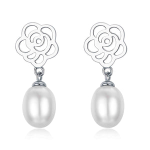 Rose Drop Pearl Earrings - Timeless Pearl