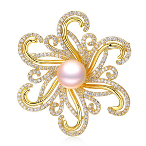 BURNING FLAMES EDISON PEARL BROOCH - Timeless Pearl