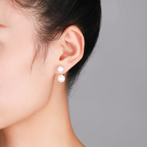 Classic Double Drop Earrings - Timeless Pearl