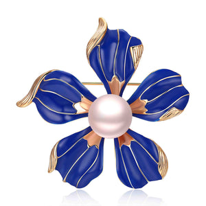 BLUE FLOWER EDISON PEARL BROOCH - Timeless Pearl
