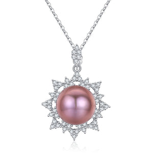 Crystal Snowflake Pink Pearl Necklace - Timeless Pearl