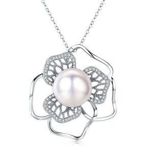Floral Fantasy White Pearl Necklace - Timeless Pearl
