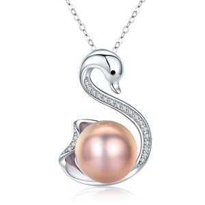 Sweet Swan Bronze Peach Pearl Necklace - Timeless Pearl