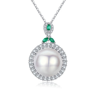 A Kiss of Emerald Classic Pearl Necklace - Timeless Pearl