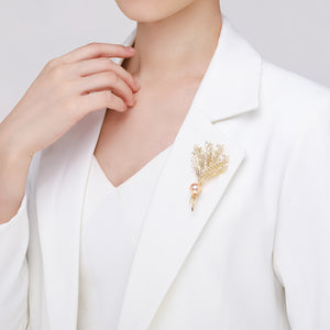 Golden Lavender Pearl Brooch - Timeless Pearl