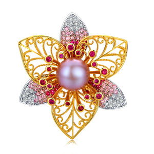 Polished Poinsettia Pearl Brooch - Timeless Pearl