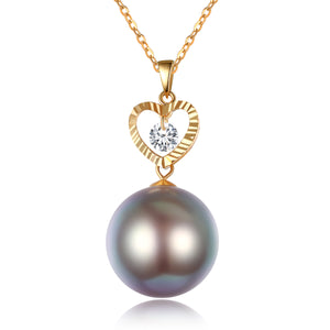 G18k Diamond Heart Edison Pearl Necklace - Timeless Pearl